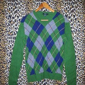 Men's J Crew green Checkered Sweater Size Medium